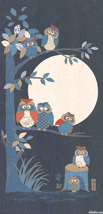 Owls & Their Trees - Noren Panel - Indigo/Gold