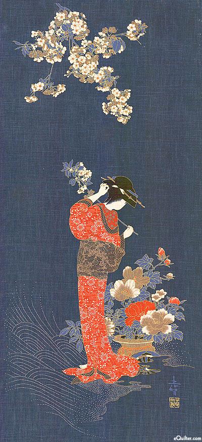 Garden Geisha - Noren Panel - Indigo/Gold