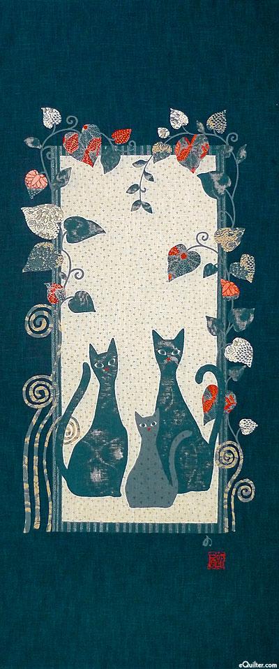 Tall Cats - Noren Panel - Indigo