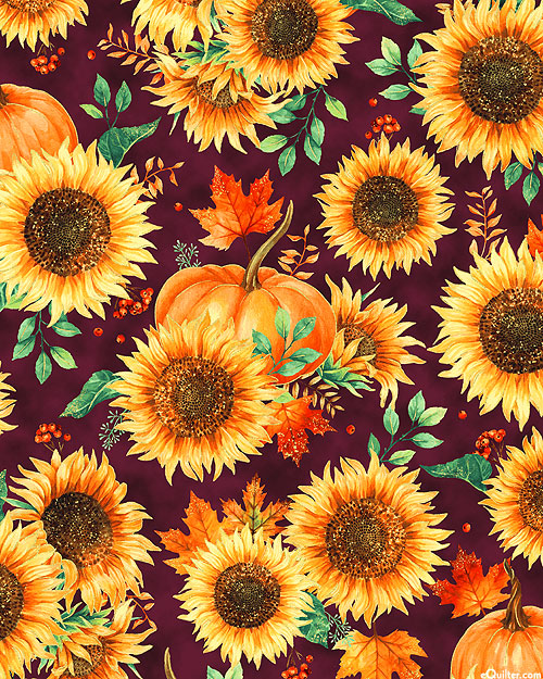 Autumn Is In The Air - Fall Sunflowers - Plum/Gold
