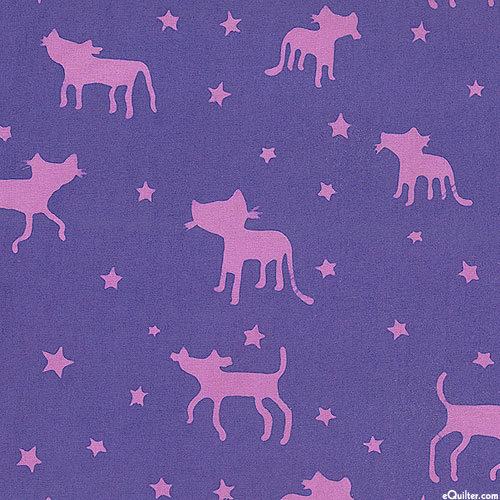 Spaced Out - Kitty Doodle Batik - Iris Purple