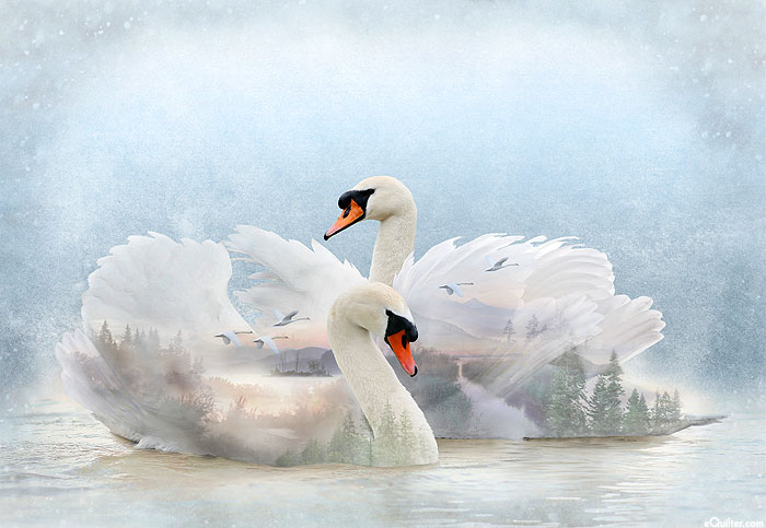 """Call of the Wild - Graceful Swans - 30"""" x 44"""" PANEL - DIGITAL"""