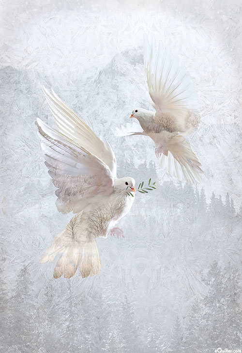 """Call of the Wild - Peaceful Doves - White - 31"""" x 44"""" PANEL"""
