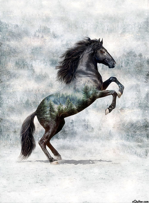 """Call of the Wild - Wild Mustang - Ash Gray - 33"""" x 44"""" PANEL"""