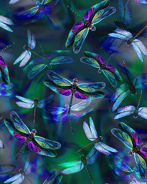Dragonfly Dream - Iridescent Wings - Dk Green - DIGITAL PRINT