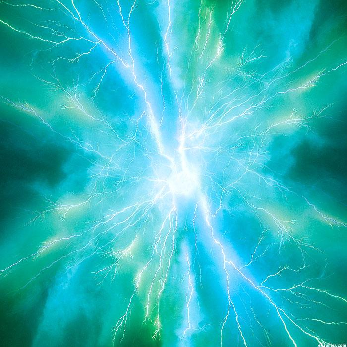 "Bolt - Electric Shock - Teal - 43"" x 44"" PANEL - DIGITAL"