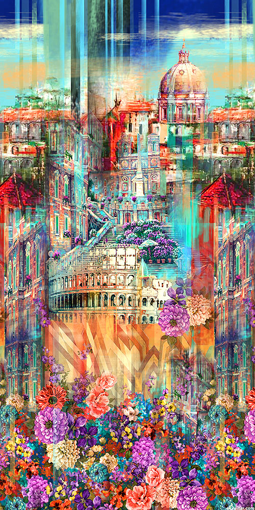 Wanderlust - About Rome Border - Turquoise - DIGITAL PRINT