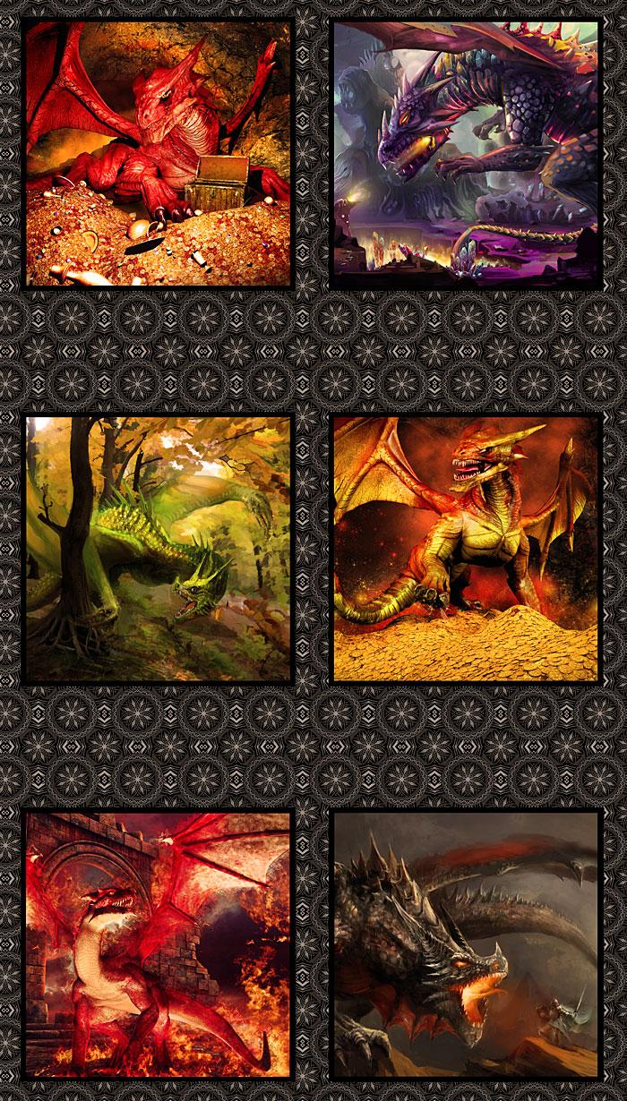 "Dragons - Magic Guardians - 36"" x 44"" PANEL - DIGITAL PRINT"