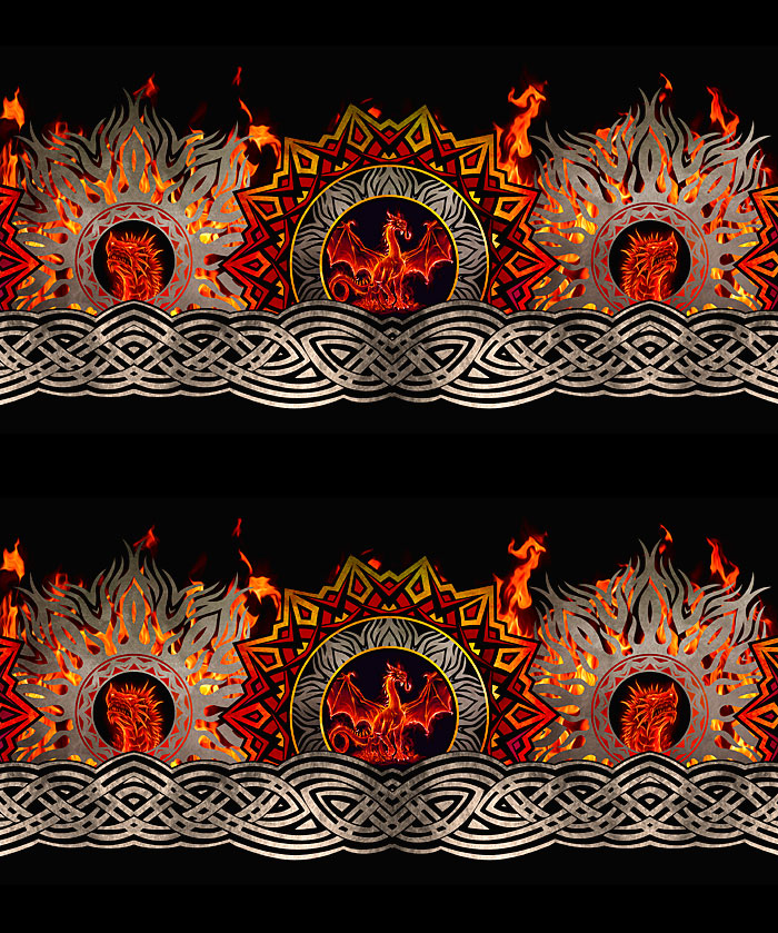 Dragons - Celtic Flames Stripe - Red - DIGITAL PRINT