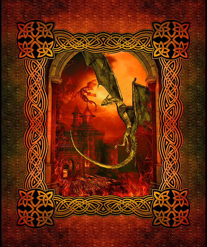 """Dragons - Castle Keepers - Red - 36"""" x 44"""" PANEL - DIGITAL PRINT"""
