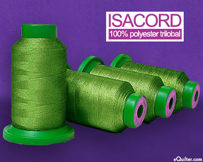Green - Isacord Polyester Embroidery Thread - Limabean
