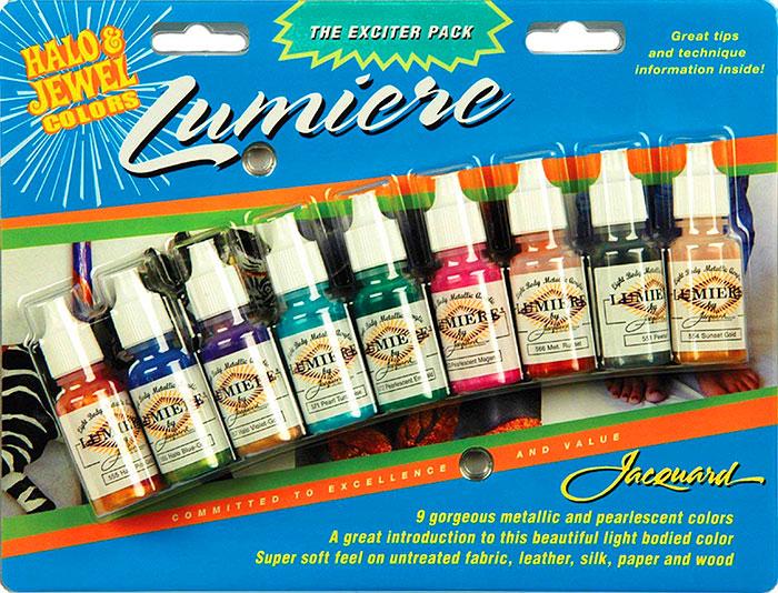 Lumiere Jacquard Pack of Fabric Paints, 1/2 oz. - 9  Colors