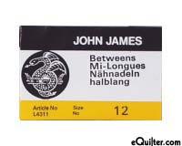 "John James ""Betweens"" Quilting Needles - Size 12"