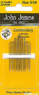 John James Embroidery Needles - Size 5/10
