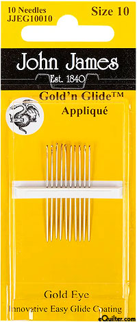 John James Gold'n Glide Appliqué Needles - Size 10