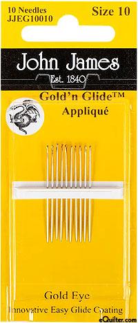 John James Gold'n Glide Appliqué Needles - Size 10