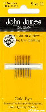 John James Gold'n Glide BIG EYE Quilting Needles - Size 11