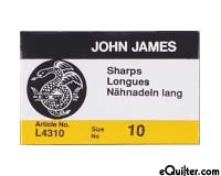 "John James ""Sharps"" Quilting Needles - Size 10"