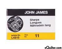 "John James ""Sharps"" Quilting Needles - Size 11"