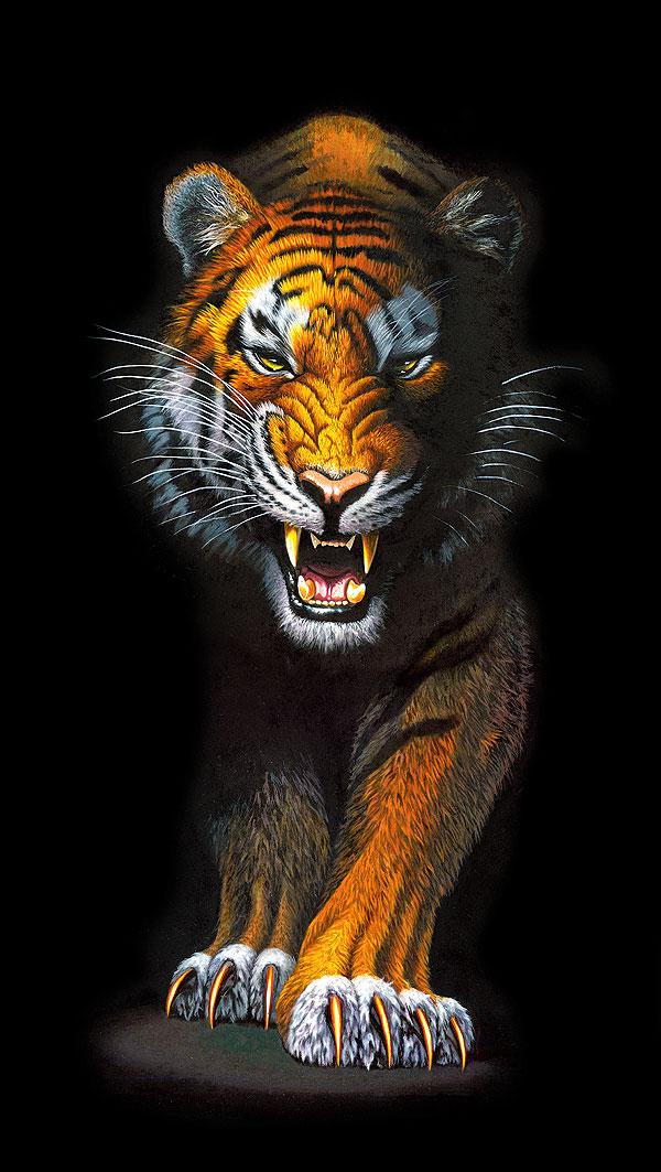 """Animal Kingdom - Fierce Tiger - 24"""" x 44"""" PANEL - DIGITAL"""