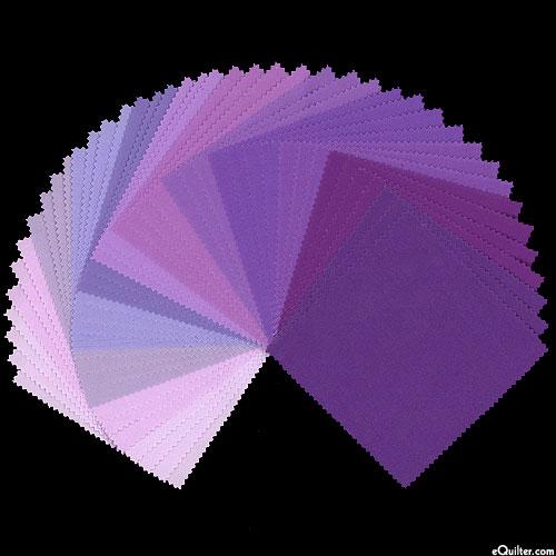 """Kona Cotton Palette - Lavender Fields Palette - 5"""" Charm Pack"""