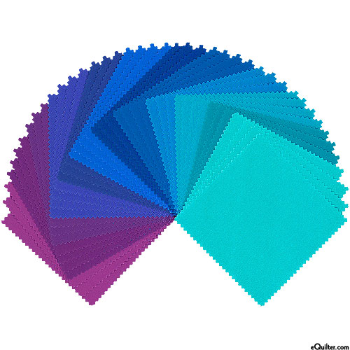 "Kona Cotton Palette - Peacock - 5"" Charm Pack"