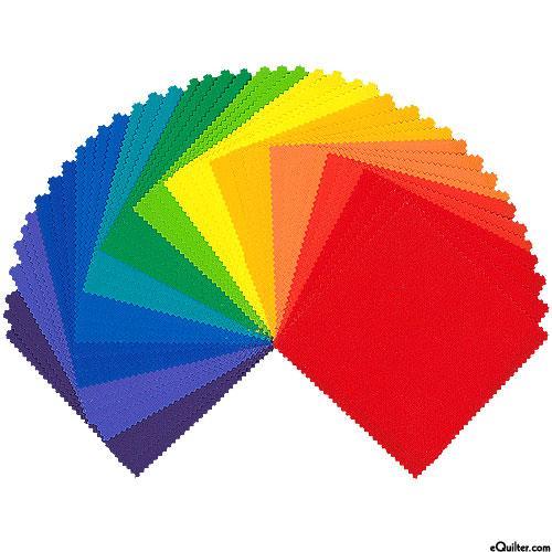 Kona Cotton Palette - Bright Rainbow - Charm Pack