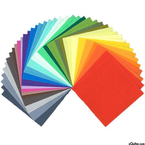"""2019 Kona Cotton Palette - 25 New Colors - 5"""" Charm Pack"""