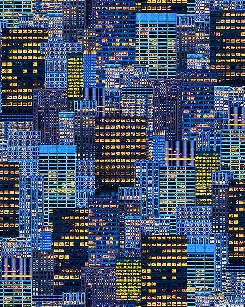 Cityscapes - NYC Windows - Dk Blue - DIGITAL PRINT