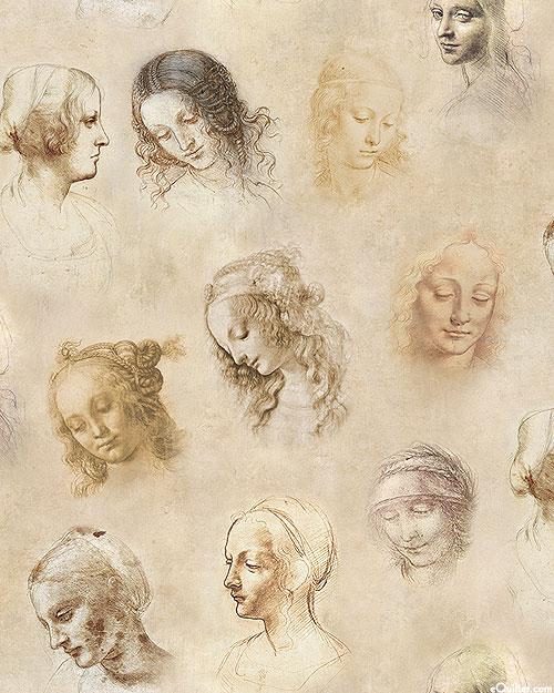 Leonardo Da Vinci - Portraits - Parchment Beige