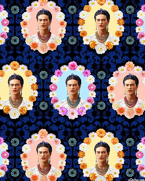 Frida Kahlo - Floral Cameos - Midnight Blue