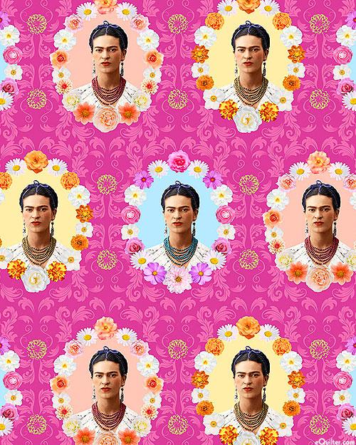 Frida Kahlo - Floral Cameos - Hot Pink