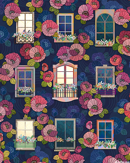 Happy Place - Window Box Garden - Navy - DIGITAL PRINT