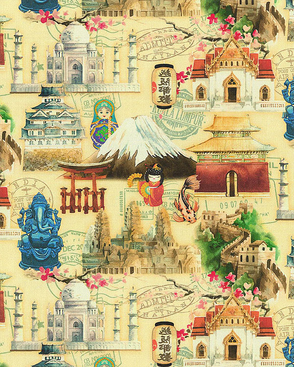 Wonders of Asia - Landmarks - Parchment Beige - DIGITAL PRINT