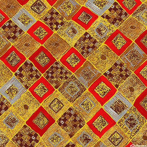Gustav Klimt - Gilded Tiles - Scarlet Red/Gold