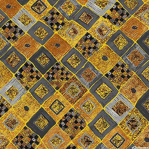 Gustav Klimt - Gilded Tiles - Charcoal Gray/Gold