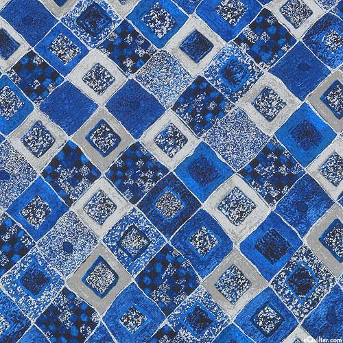 Gustav Klimt - Gilded Tiles - Cobalt Blue/Silver