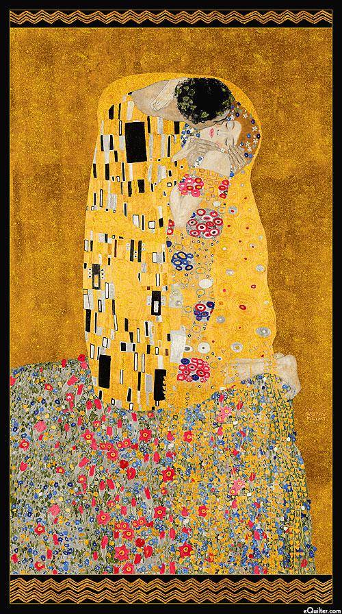 """Gustav Klimt - The Kiss - Amber/Gold - 24"""" x 44"""" PANEL"""