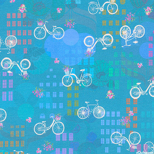 """Happy Place Bicycles - Cotton Knit Jersey - 59"""" - Turquoise"""