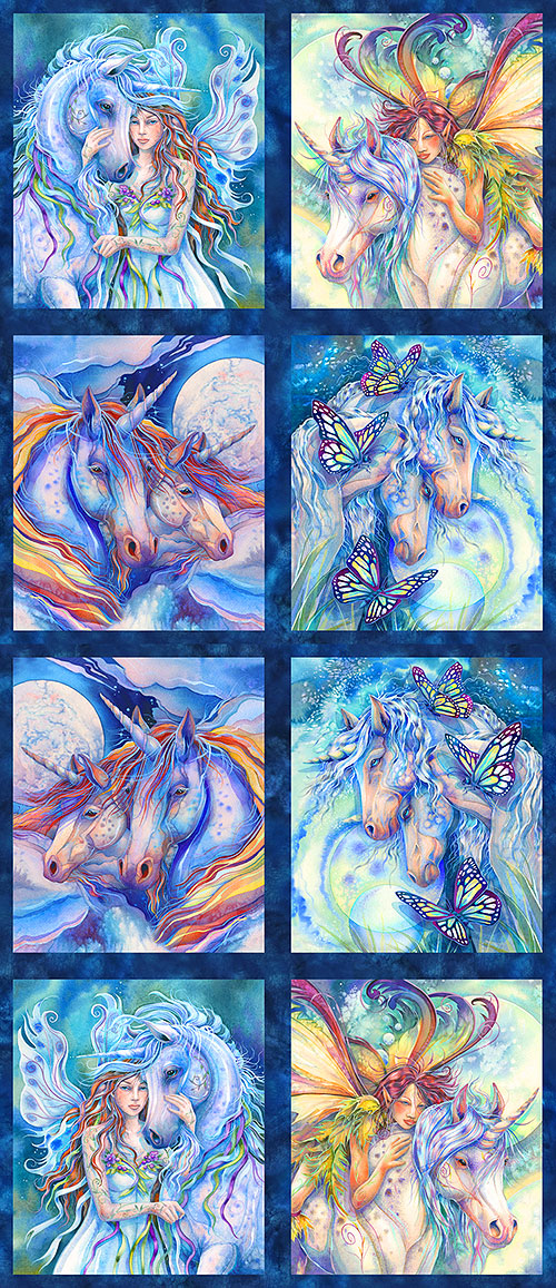"Morningmoon Unicorns - 24"" x 44"" PANEL - DIGITAL PRINT"