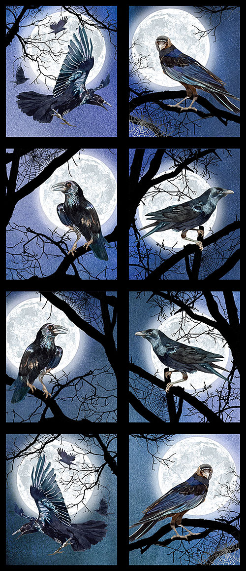 "Raven Moon - Midnight Watch - Navy - 24"" x 44"" PANEL - DIGITAL"