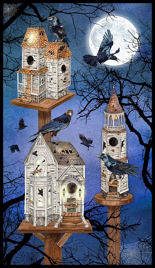 "Raven Moon - Haunted Birdhouse - Navy - 24"" x 44"" PANEL"