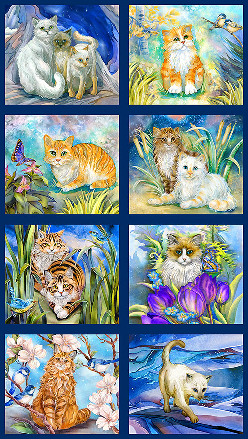 "Be Pawsitive - Kitty Dreamers - 24""X 44"" PANEL - DIGITAL PRINT"