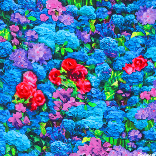 Picture This - Painted Garden - Azure Blue - DIGITAL PRINT