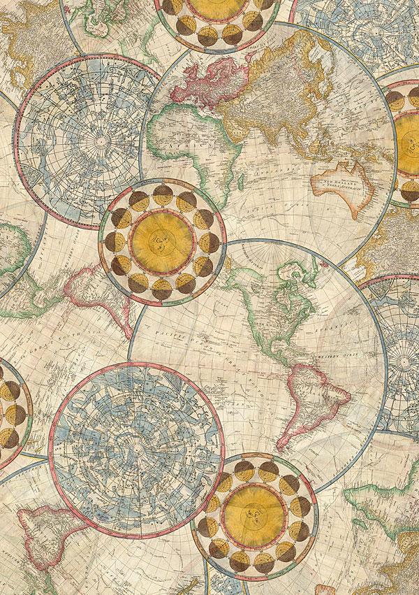 "Library of Rarities - Map of Hemispheres - Beige - 108"" BACKING"
