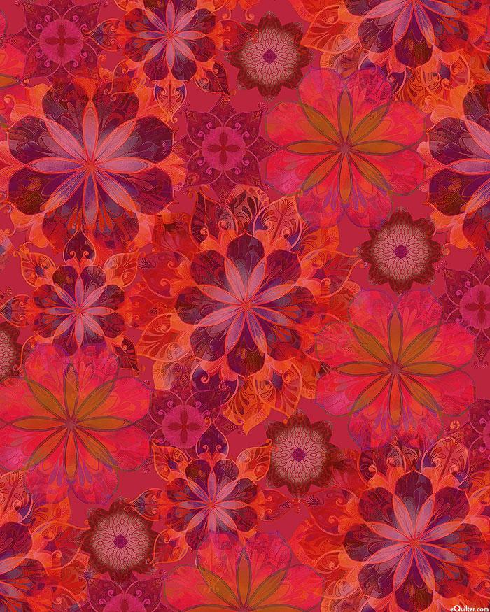 "Venice - Chromatic Garden - Ruby Red - 108"" SATEEN QUILT BACK"