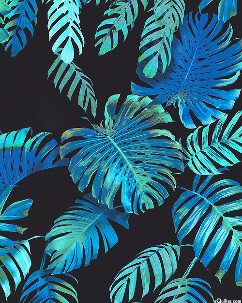 "Makaha Nights - Glowing Ferns - Black - 100% RAYON - 56"" WIDE"