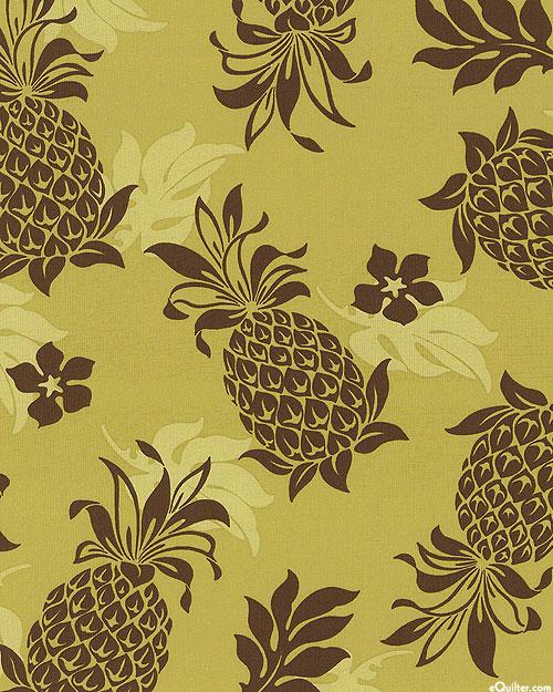 "Ecovero Aloha - Pineapples - Olive - 46"" WIDE - COTTON/RAYON"