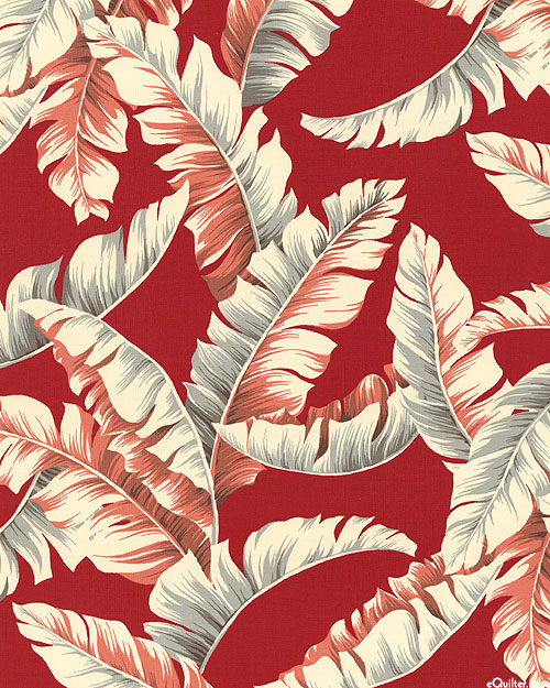 """Ecovero Aloha - Palm Leaves - Dk Red - 46"""" WIDE - COTTON/RAYON"""