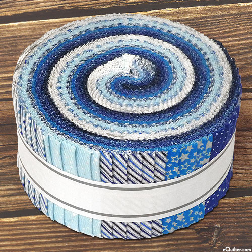 """Holiday Charms - Blue, White & Silver - 2 1/2"""" Strips"""